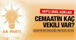 Cemaatin AK Parti'deki milletvekili sayısı